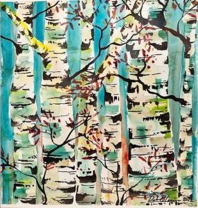 Watercolor birches - post