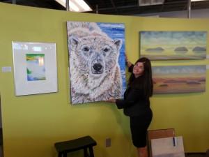 Deb and bear at gallery